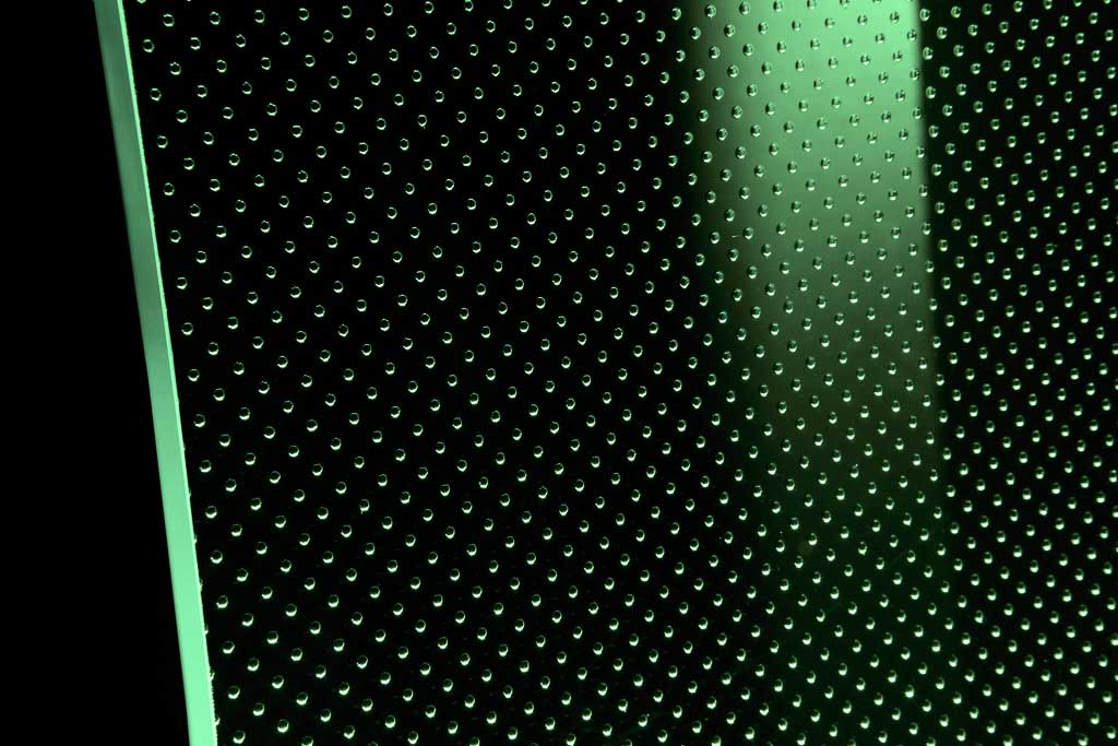 Vetro extra chiaro con luce LED verde
